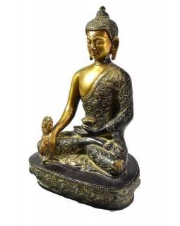 Buddha léčitel (medicine), antik patina, řezba, mosazná soška, 22cm