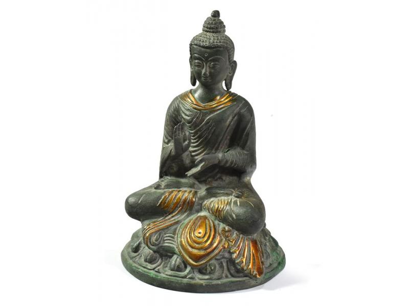 Buddha Amóghasiddhi, antik kamenná zelená patina, mosazná soška, 20cm