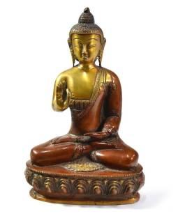Buddha Amóghasiddhi, antik patina, mosazná soška, 20cm