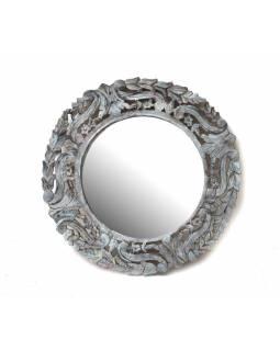 Kulatý rám se zrcadlem, ručně vyřezávaný, bílá patina, prům. 60cm