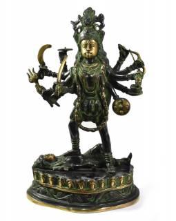 Kálí, zlatozelená patina, mosazná socha, 44cm