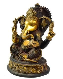 Ganéša, antik černozlatá patina, mosazná socha, 30 cm