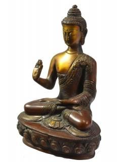 Buddha Amóghasiddhi, antik patina, řezba, mosazná soška, 21cm