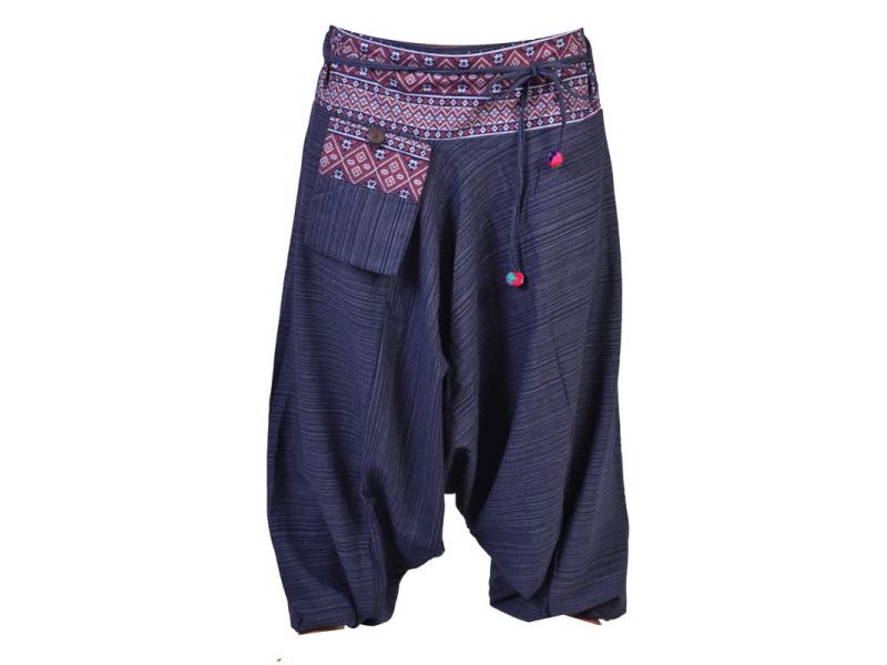 Tmavě modré thajské turecké kalhoty s potiskem, kapsa, bambulky
