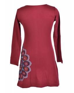 Vínové šaty s dlouhým rukávem, Sun Mandala design, aplikace a výšivka, potisk