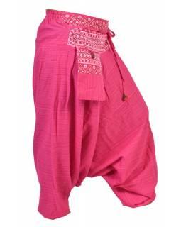 Růžové thajské turecké kalhoty s potiskem, kapsa, bambulky