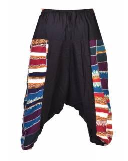 Černé turecké kalhoty s patchworkovým designem, elastický pas