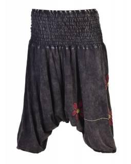 Černé turecké kalhoty s červenými květinami, výšivka, bobbin