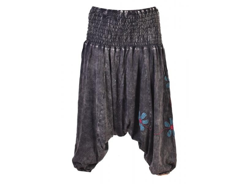 Černé turecké kalhoty s modro-červenými květinami, výšivka, bobbin