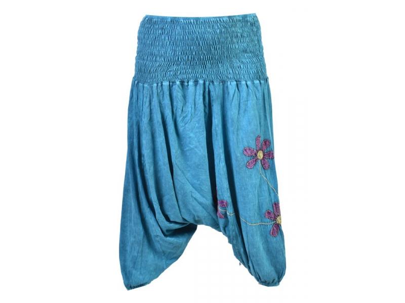 Tyrkysové turecké kalhoty s fialovo-zelenými květinami, výšivka, bobbin