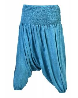Tyrkysové turecké kalhoty se modrými květinami, výšivka, bobbin