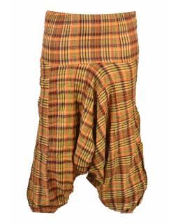 "Turecké kalhoty, ""Patchwork design"", stonewash, žlutá, pružný pas"
