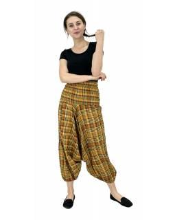 """Turecké kalhoty, """"Patchwork design"""", stonewash, oranžová , pružný pas"""