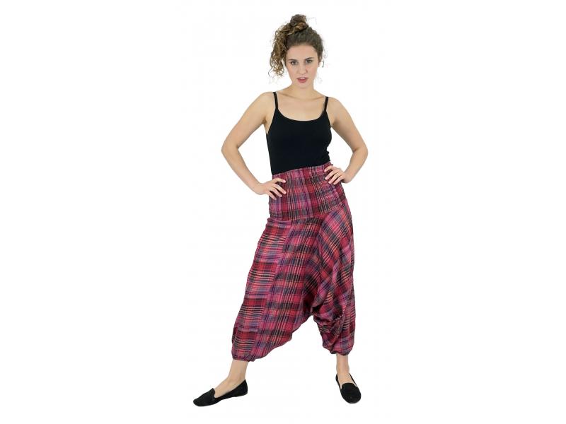 "Turecké kalhoty, ""Patchwork design"", stonewash, růžová, pružný pas"