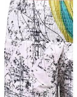 Bílé balonové kalhoty s potiskem, žabičkování
