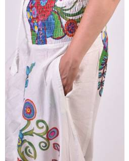 Bílé turecké kalhoty-overal 2 v 1, barevný potisk