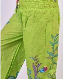 Zelené balonové kalhoty s potiskem, žabičkování