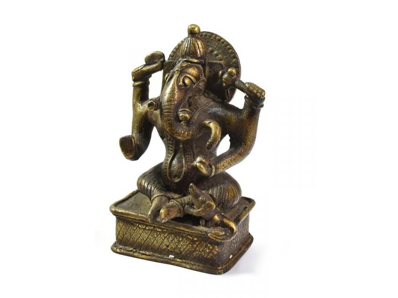 Ganéša, kopie starého originálu jižní Indie, mosazná socha, 16cm