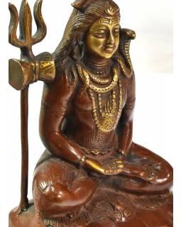 Shiva, červenohnědá patina, mosazná, socha, 16,5cm