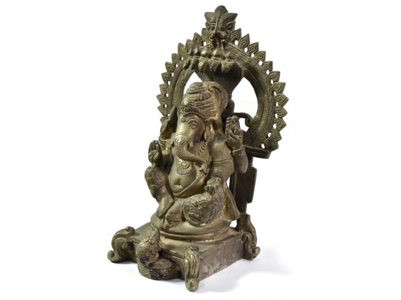 Ganéša, antik cínová patina, mosazná, ručně tepaná socha, 20,5cm