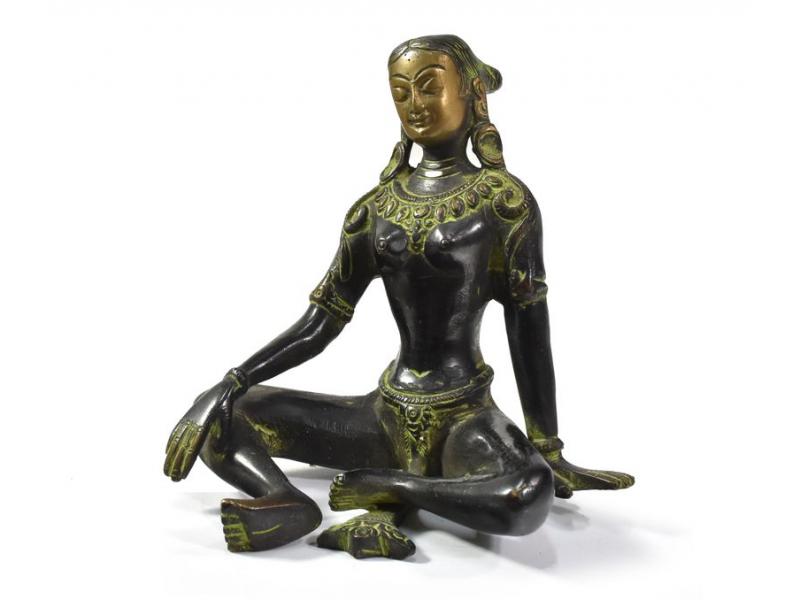 Zelená Tara, černo zelená patina, mosazná socha, 13cm