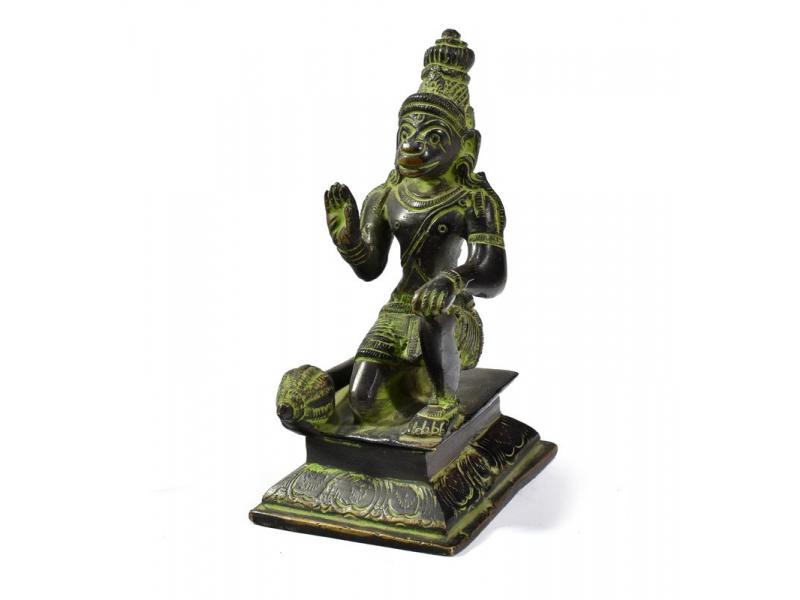 Hanuman, černo zelená patina, mosazná socha, 13cm