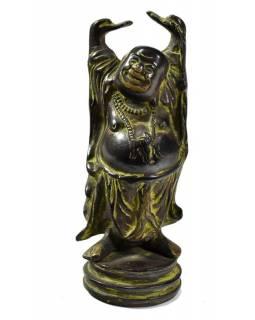 Buddha hojnosti, černozeleno patina, mosazná soška, 16cm