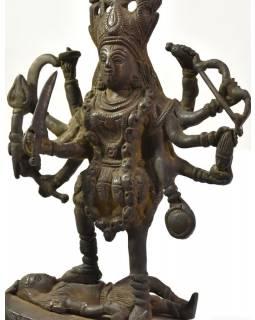 Kálí, antik patina, mosazná ručně tepaná socha, v. 20cm19cm