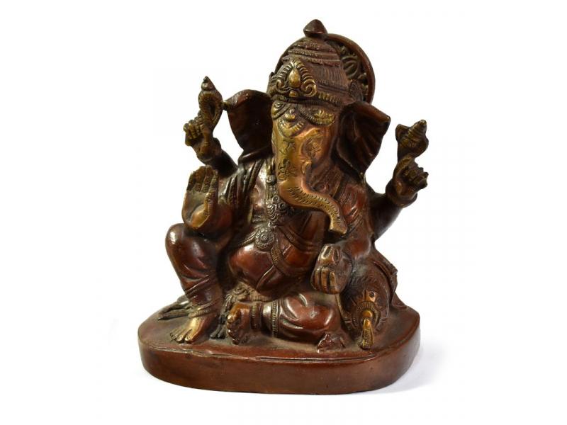 Ganéš, červenozlatá patina, mosazná socha, v.13cm