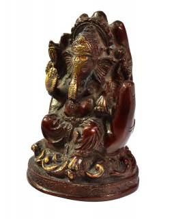 Ganéš v dlani, červenozlatá patina, mosazná socha, š.12cm