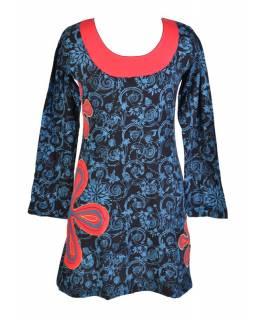 Čermo-modré šaty s dlouhým rukávem, květinový celotisk, výšivka