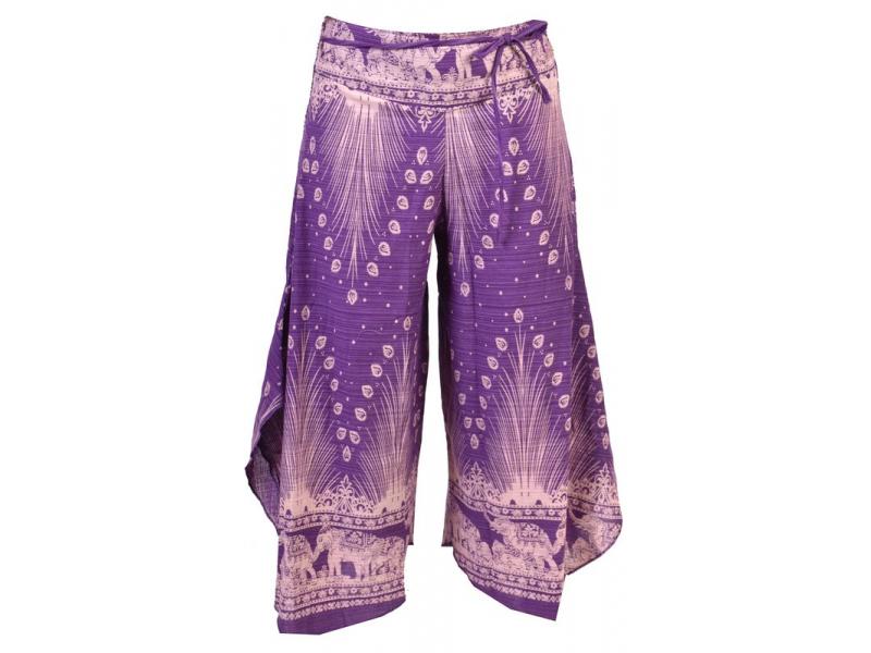 Fialovo-bílé thajské zvonové kalhoty, orientální potisk, elastický pas