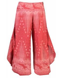 Červeno-bílé thajské zvonové kalhoty, orientální potisk, elastický pas