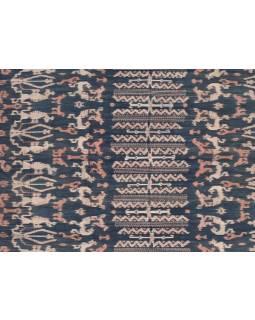 Modro béžový přehoz se zvířecím motivem, technika tkaní ikat, 246x118cm