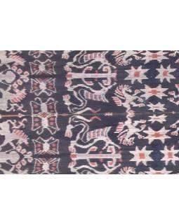 Modro béžový přehoz se zvířecím motivem, technika tkaní ikat, 240x90cm