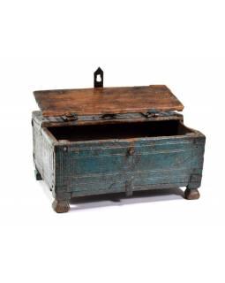 Stará truhlička z teakového dřeva, 28x22x13cm