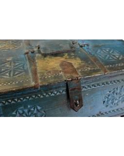 Stará truhlička z teakového dřeva, 38x28x19cm