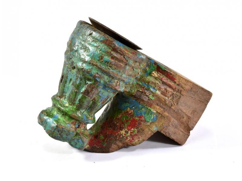 Antik svícen z mangového dřeva, 12x7,5x15cm