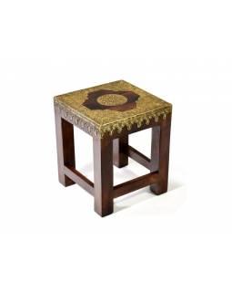 Stolička s mosazným kováním, indický palisandr, 25x25x29cm