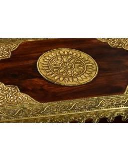 Stolička s mosazným kováním, indický palisandr, 45x30x45cm