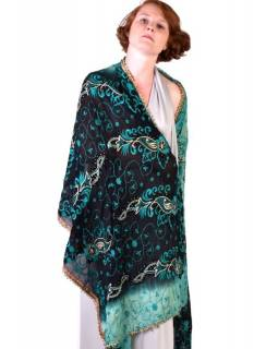 Luxusní šál ze starých sárí, ručně vyšívaný, 210x95cm
