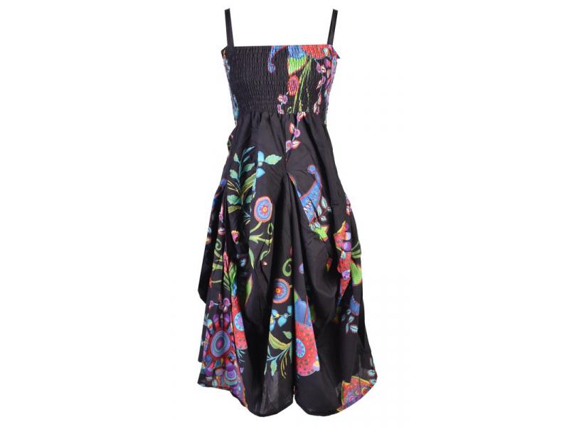 Dlouhé černé balonové šaty, ramínka, žabičkování