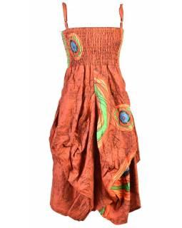Dlouhé oranžové balonové šaty, ramínka, žabičkování