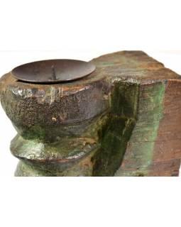 Antik svícen z mangového dřeva, 9x10x13cm