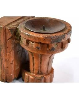 Antik svícen z mangového dřeva, 7,5x10x11,5cm