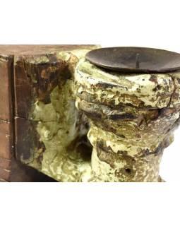 Antik svícen z mangového dřeva, 8x10x14cm
