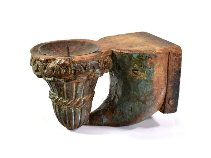 Antik svícen z mangového dřeva, 12,5x10,5x20cm