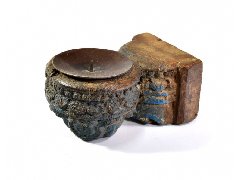 Antik svícen z mangového dřeva, 5,5x7,5x12,5cm