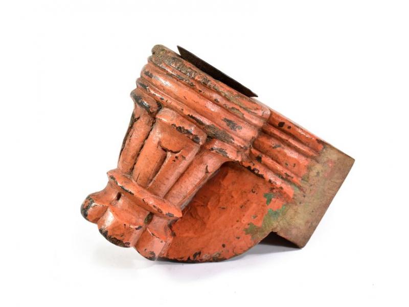 Antik svícen z mangového dřeva, 12x8x15cm