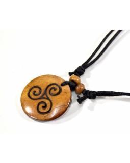 Kostěný náhrdelník na šňůrce, spirály, cca 3 cm